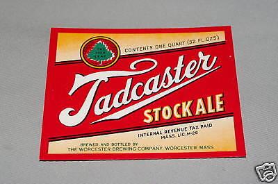 Tadcaster Stock Ale IRTP Beer Bottle Label Worcester