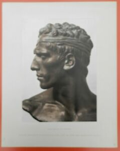 Hans-Buehler-DER-KAMPFER-montierter-Kunstdruck-von-1942-Natur-Bueste-Kopf-Antike