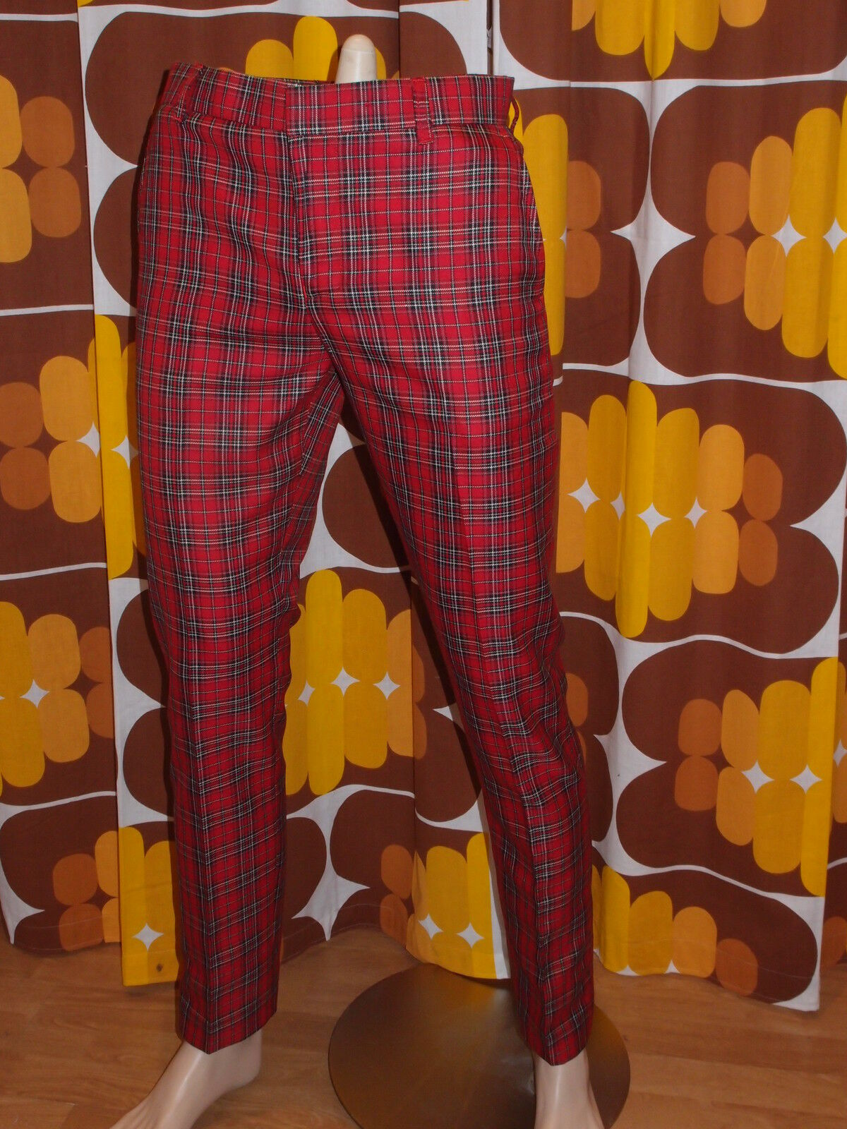 New Run & Fly mod 60s vintage beatnik style slim classic red tartan trousers