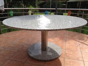 Runder Terrassentisch Granit D130cm Esstisch Edelstahlgestell
