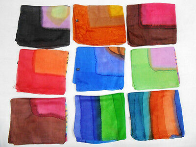 20 Pieces Wholesale Lot Pure Silk Scarf Indian Handmade Print Batic Hand Died