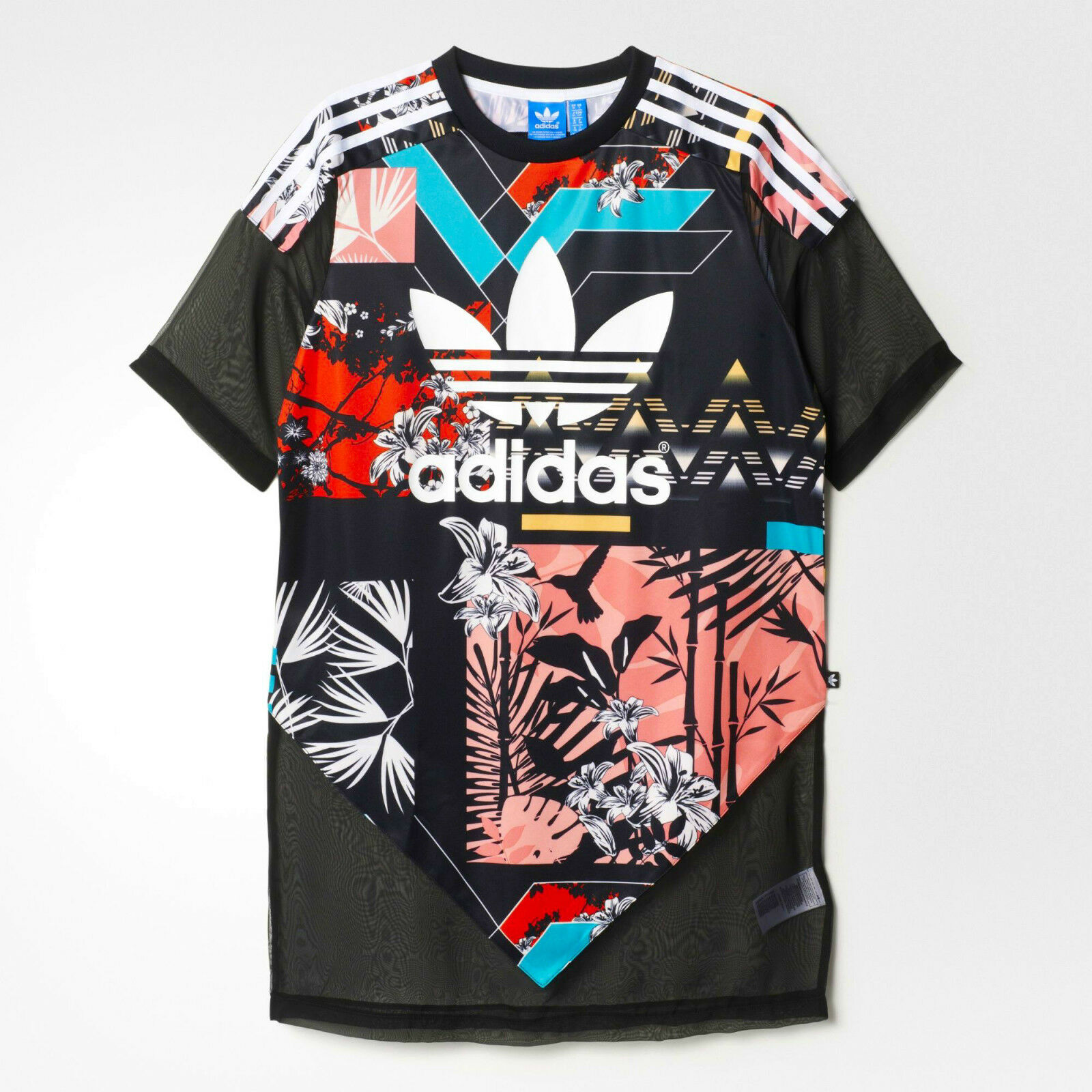 well known presenting outlet on sale Женское платье Adidas Originals Floral Chiffon Sheer Fuball T-Shirt Mini  Tee Fuball Kleid
