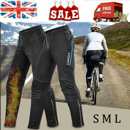 Men/'s Cycling Pants Bike Riding Windstopper Winter Thermal Fleece Trousers M7H9