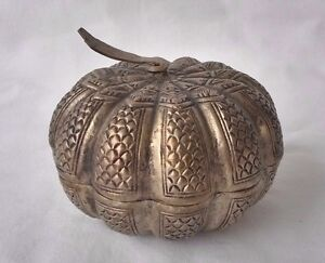 Antik Persisch Silber Melone Form Covered Kiste Seltener Metallobjekte