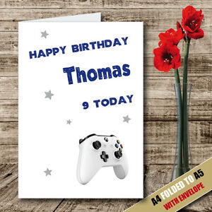 Image Is Loading Personalised Boys X Box Greeting Birthday Card Son