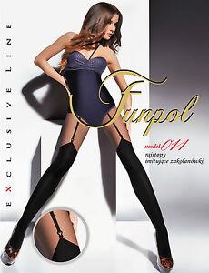 donna-Nero-collant-con-motivo-FINTO-autoreggenti-034-modello-35-6cmsize-M-XXL