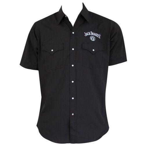 Jack Daniels Short Sleeve Button Down Shirt Black