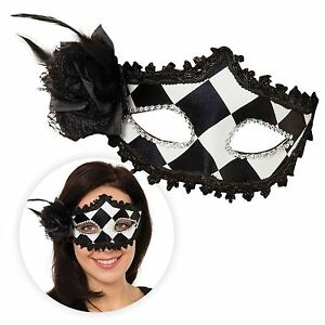 Arlequin Bouffon Noir Blanc Masque Yeux Harley Gothique Rose