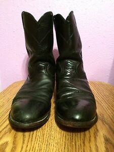 Mens Western Boots Justin Ropers 3133 Black Size 13 D