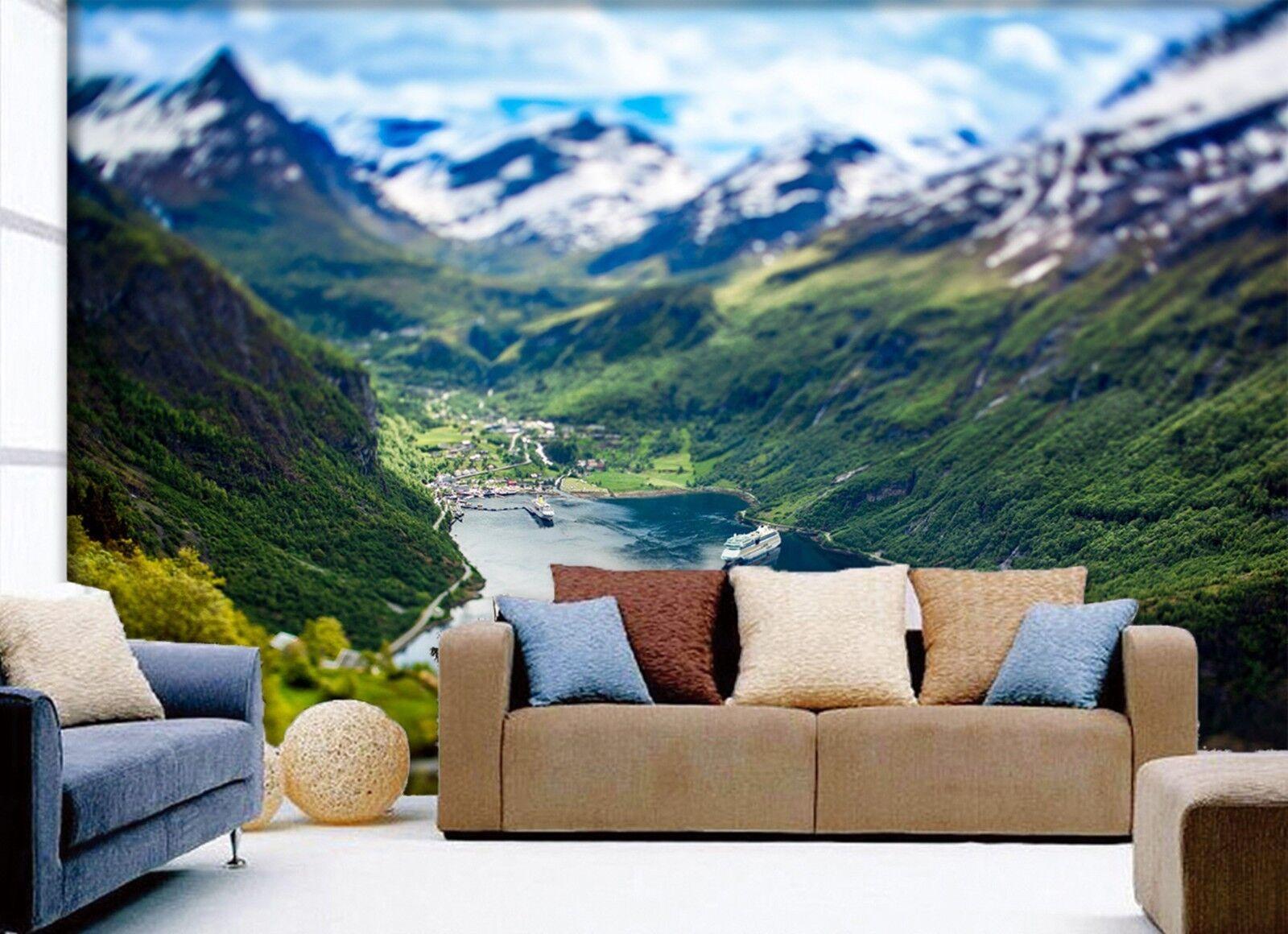3D Schneeberg Fluss Natur 8357 Tapete Wandgemälde Tapeten Bild Familie DE Lemon