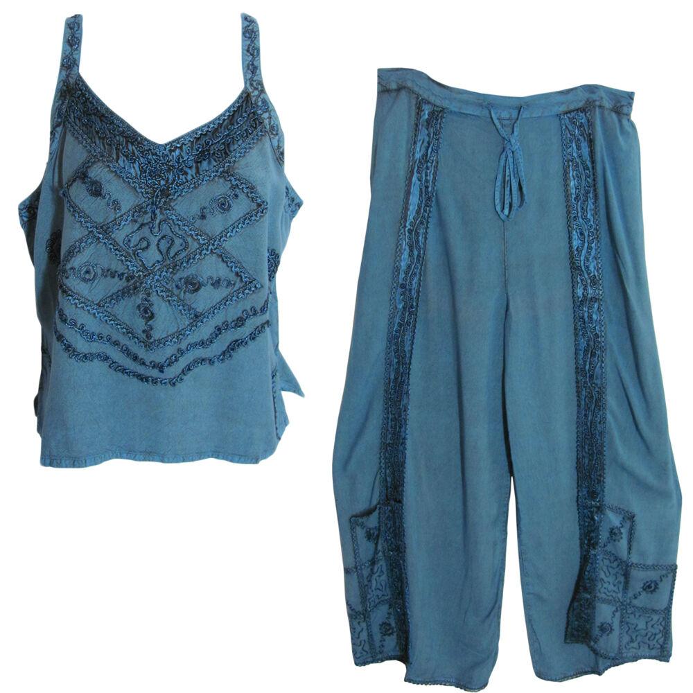 Bohemian Embroidered Denim bluee Stonewash Yoga Blouse & Wrap Pants Set