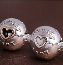 .925 STERLING SILVER European CLIP Bead LOVE and FAMILY w Open Heart 14K Gold