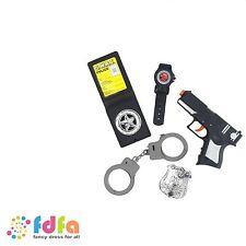BLACK POLICE SET WITH GUN HANDCUFFS BADGE & WATCH - mens boys fancy dress toy