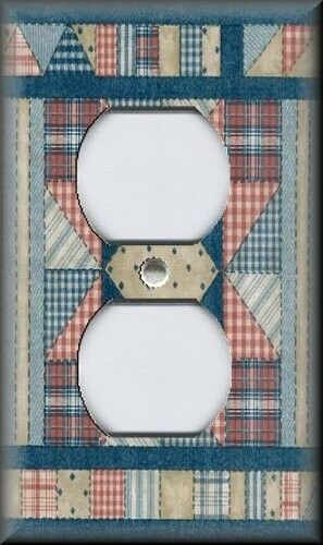 Metal Light Switch Plate Cover Farmhouse Decor Country Quilt Design Home Decor