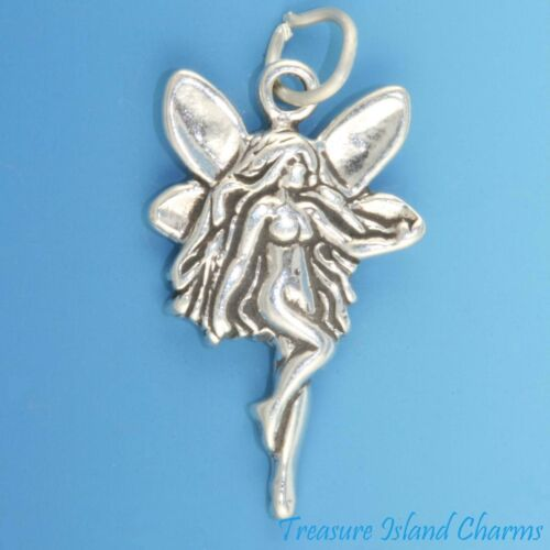 Fée Nymphe avec papillon ailes .925 Sterling Silver Charm pendentif made in USA