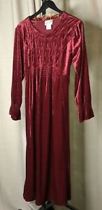 Vintage-Renaissance-Dress-Shell-Kepler-Lacy-Afternoon-Long-Burgundy-Size-8