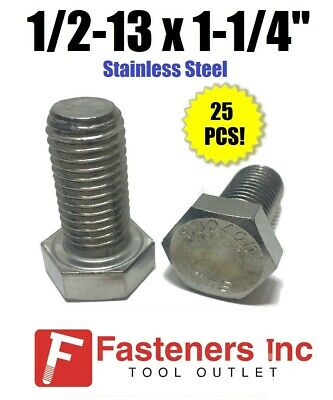 "Hex Bolts Tap Stainless Steel Full Thread 1//2-13 x 1-1//2/"" Qty 100"