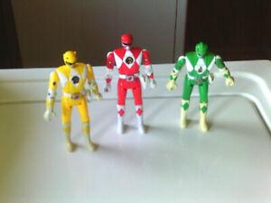 Mighty Morphin Power Rangers Bandai Flip Head 1993 Rangers Green, Red, & Yellow