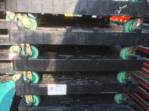 2 X LT Heavy Duty Wheeled 600 x 800mm Tote Crate Double Dolly 500KG Warehouse