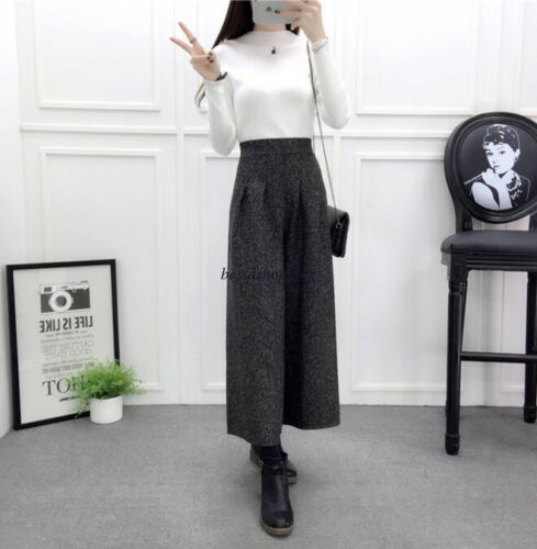 Retro Womens Wool Blend Elastic High Waist Wide Leg Trousers Casual Crop Pants