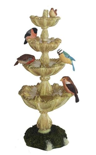 Collectable Garden Birds Drinking from a Fountain Ornament Sculpture Decoration