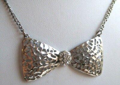 Collier Couleur Argent Nœud Papillon Chaîne Réglable Bijou Années 60 Vintage 137
