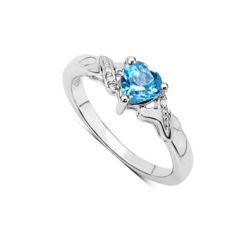 Corazón de plata esterlina Topacio Azul Y Diamante Anillo de compromiso TAMAÑO HIJKLMNOPQRSTU