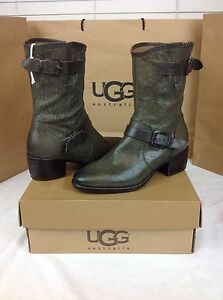 UGG COLLECTION GRIGIO CONCHETTA WEAVE LEATHER BOOTS SIZE 7 AND 8 US