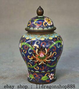 """5.6 """"Qianlong Marqué Chine Cuivre Cloisonné Dynastie Palais Fleur Réservoir Pot"""