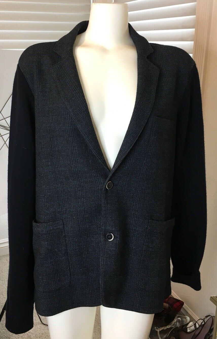 1195 RODA Knit Merino Wool Cardigan Sweater-Blazer L (40-42) Navy Grau Plaid