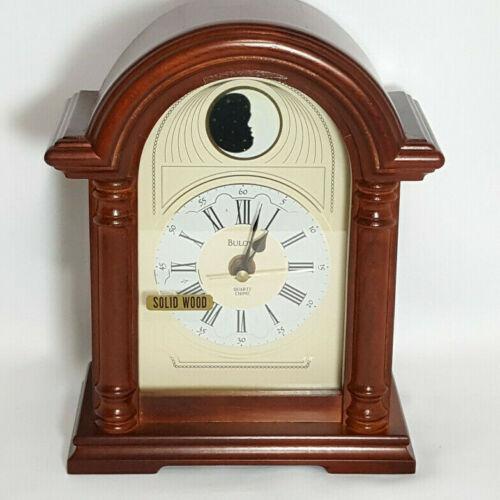 NEW Bulova Mantel Clock Shelf Table Quartz Chime Wood Arch Columns Moon B1869