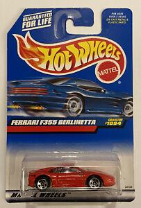 1999-355-HotWheels-FERRARI-F355-BERLINETTA-RED-ROSSO-molto-RARO-Nuovo-di-zecca-MOC