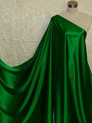 100% Silk Charmeuse Fabric Emerald Green Per Yard
