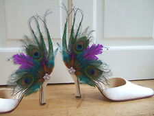 Peacock Feather Crystal Brooch Teal Purple Shoe Clips SCB117 1 x Pair