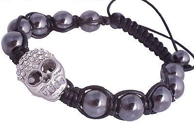 armband shamballa Hämatit kugeln Totenkopf mit Kristallen SH57