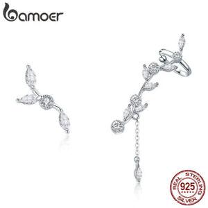 BAMOER-Fine-S925-sterling-silver-earrings-Flower-branch-with-CZ-Women-Jewelry