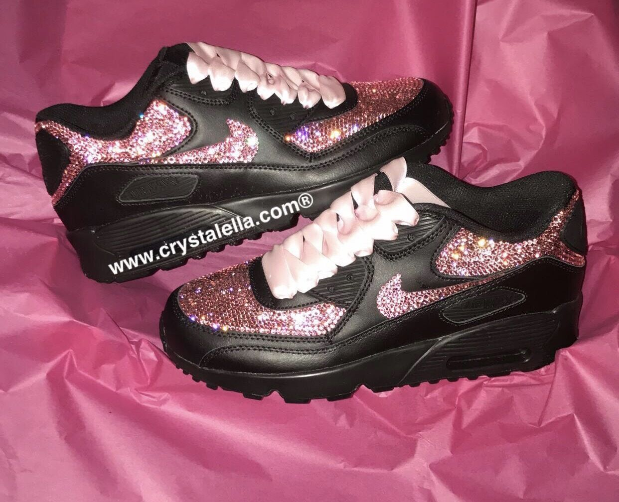 Nike Air Sparkling Max 90 in Noir Sparkling Air in rose Swarovski Crystals 19b39f