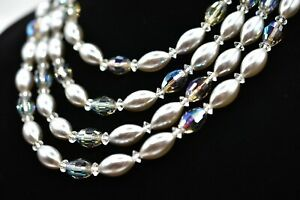 LAGUNA-signed-Vintage-Faux-Pearl-Necklace-Aurora-Borealis-Crystal-Layered-Bin6