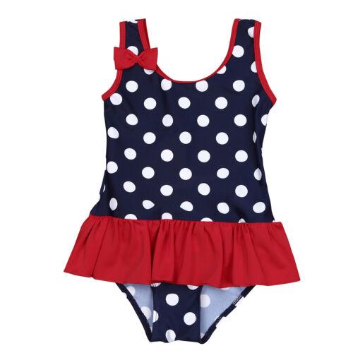 Baby Girls One-Piece Swimsuit Swimwear Bowknot Polka Dots Bathing Suit Beachwear