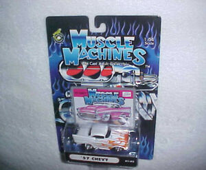 "MUSCLE MACHINES ""57 CHEVY"" VHTF NEW DIE CAST CLASSIC CAR W/FLAMES"