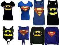 NEW WOMENS/MENS SUPERMAN/BATMAN PRINTED SWEATSHIRT  T-SHIRT VEST UK SIZE 8-14