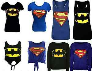NEW-WOMENS-MENS-SUPERMAN-BATMAN-PRINTED-SWEATSHIRT-T-SHIRT-VEST-UK-SIZE-8-14
