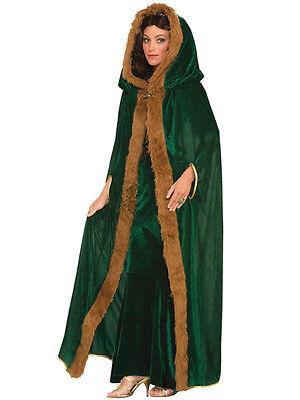Mesdames game of thrones vert fourrure découpé manteau médiéval costume déguisement cape