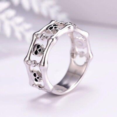 Fashion 925 Silver Skull Punk Anniversary Band Jewelry Women Ring Size 5-10