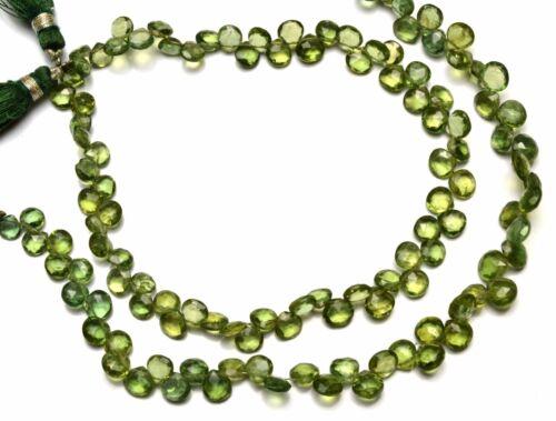 "Natural Gem Bottle Green Apatite 5 to 6MM Heart Shape Briolette Beads 9/"""