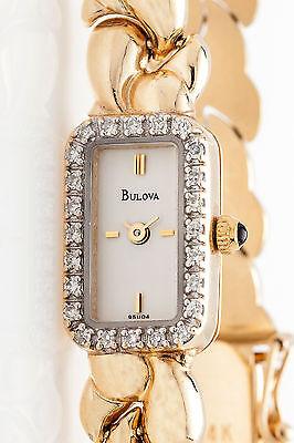 Vintage Paisley $4000 Bulova .50ct Diamond 14k Yellow Gold Ladies Watch 18g
