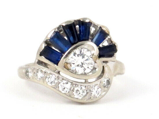 14k White gold Round Diamond and Baguette Sapphire Heart Ring .99ct