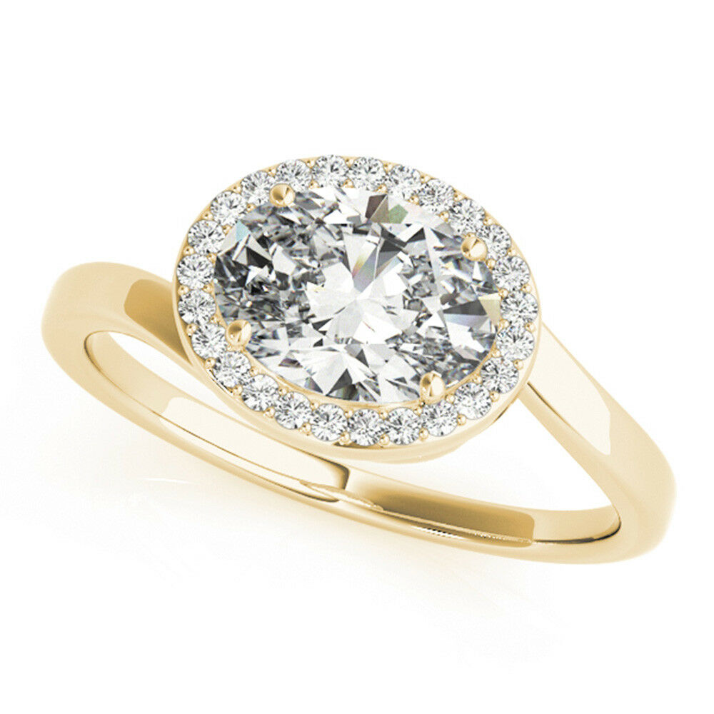 0.65 Ct Oval VS1 Real Diamond Engagement 14K Yellow gold Wedding Rings Size 6