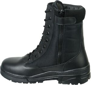 Black-Leather-Army-Patrol-Combat-Boots-SIDE-ZIP-Security-Cadet-Military-923