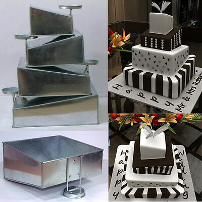 Mini Topsy Turvy 4 Tier Square Cake Pans Tins New Design By EuroTins